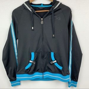 BCBG Front Zip Up Studded & Jeweled Hoodie